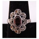 Silver Ring with Garnet, markacite