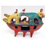Folk Art - Bare Breasted Lady on Ark