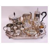 Silver Plate and Tray and Coffee Serving