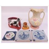 Pottery lot: Hull Pitcher, Dog Vase, 3 tiles