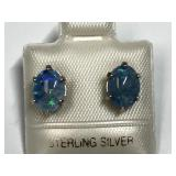 105U- sterling silver blue opal 2.0ct earrings
