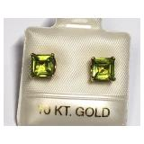 120U- 10k yellow gold peridot 1.22ct earrings $280