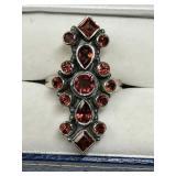 122U- sterling silver garnet ring $300