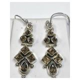 138U- sterling silver smokey quartz earrings $240
