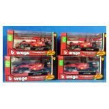 4 new burago Ferrari racing cars 1/43