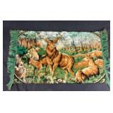 Vintage wall tapestry of deer