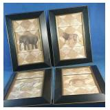 "Four framed animal pictures, 13"" x 20"""