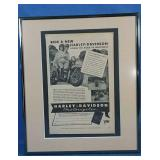 Authentic 1946 Harley-Davidson framed ad
