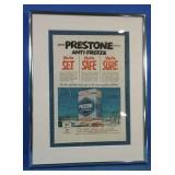 Authentic 1952 Prestone antifreeze framed ad
