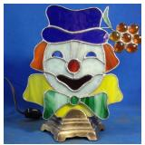 Working vintage clown Stained Glass Lamp with