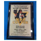 Framed Alice Cooper concert tour poster Welcome
