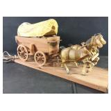 Working hand crafted horse and carriage lamp