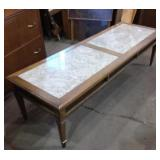 Coffee table with marble inlay 60x20x16H