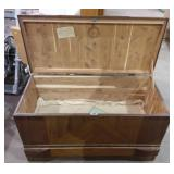 Cedar Chest 39X18X23H with visible wear on top