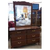MDF 6 drawer dresser with mirror, 50x17x32