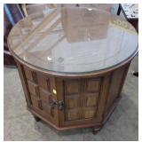 Round End Table with storage 26x26x24