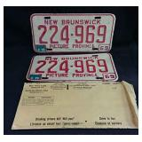 Set of 1969 New Brunswick license plates