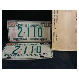Set of 1972 New Brunswick license plates with