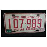 1969 New Brunswick license plate