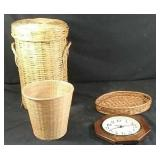 Wicker laundry basket with lid, wall clock &