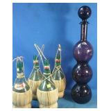 Assortment of wine bottles and wine decanter made
