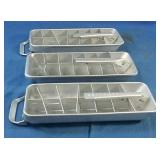 3pc Vintage Quick Cube metal ice trays