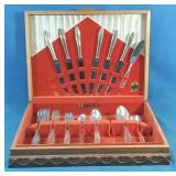 Set of silver plate flatware in wooden box