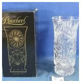 "10"" Pinwheel crystal vase, made in Czechoslovakia"