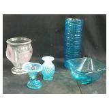 blue hobnail glass dishes, hobnail and pink