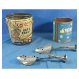 2 vintage tins and 2 cobblers tools