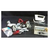 Hand mixer, cake decorator, cookie cutters &
