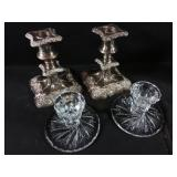 2 pinwheel Candlestick holders and 2 EP