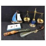 scales of justice, shoe horns & extras