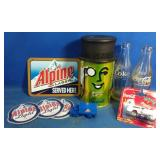 Coca-Cola, planters, and Alpine collectibles