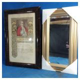 Mirror with framed picture of Pope