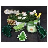 Christmas garland, candy dishes and decorations