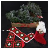Christmas wreaths and socks