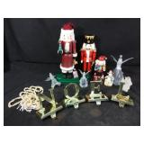 Christmas decorations including nutcrackers and
