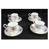 "4 cups and saucers Royal Albert, ""Petit point"""