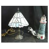 Stained glass table lamp and Lighthouse novelty