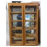 "5 shelf cabinet with mirror and glass doors 27"" x"