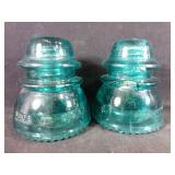 2 vintage Glass insulators
