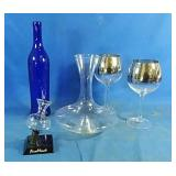 Wine decanter, wine goblets, bottle and other