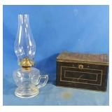 Vintage St. John tea box and oil lamp