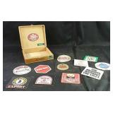Cigar box  & assorted advertising coasters