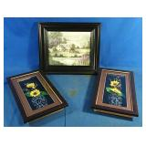 "Framed picture  13"" x 11"" &  2 shadow box"