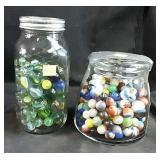 Two jars of marbles