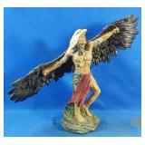 "New Resin Indian/Eagle figurine 13""h"