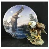 New Bald Eagle figurine and tin wall plaque