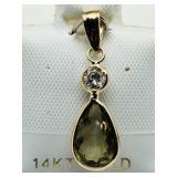 B4- 14k color changing zultanite & diamond pendant